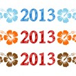 Vector colorful aloh2013 text with hibiscus — Vector de stock #13612989