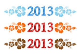 Vector colorful aloha 2013 text with hibiscus — Vector de stock