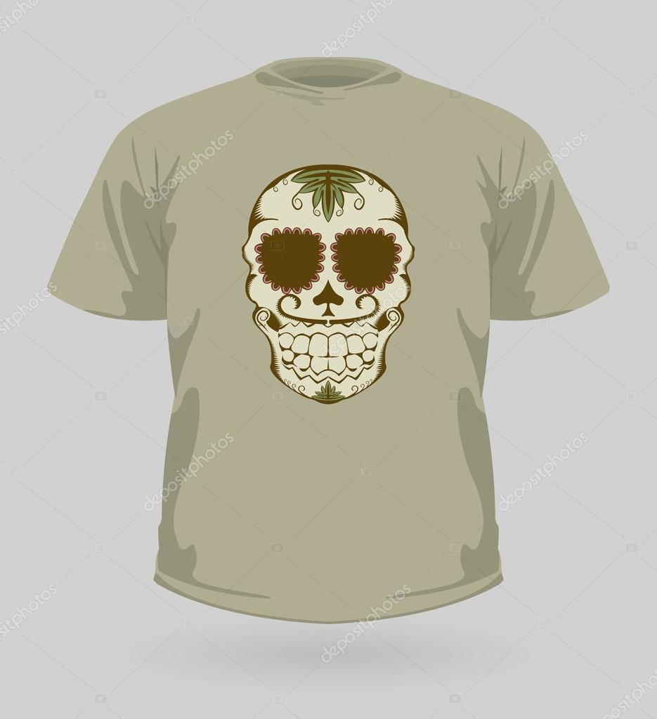 Vector illustration of t-shirt with decorative brown Sugar Skull for Halloween  — Stock Vector #13612988