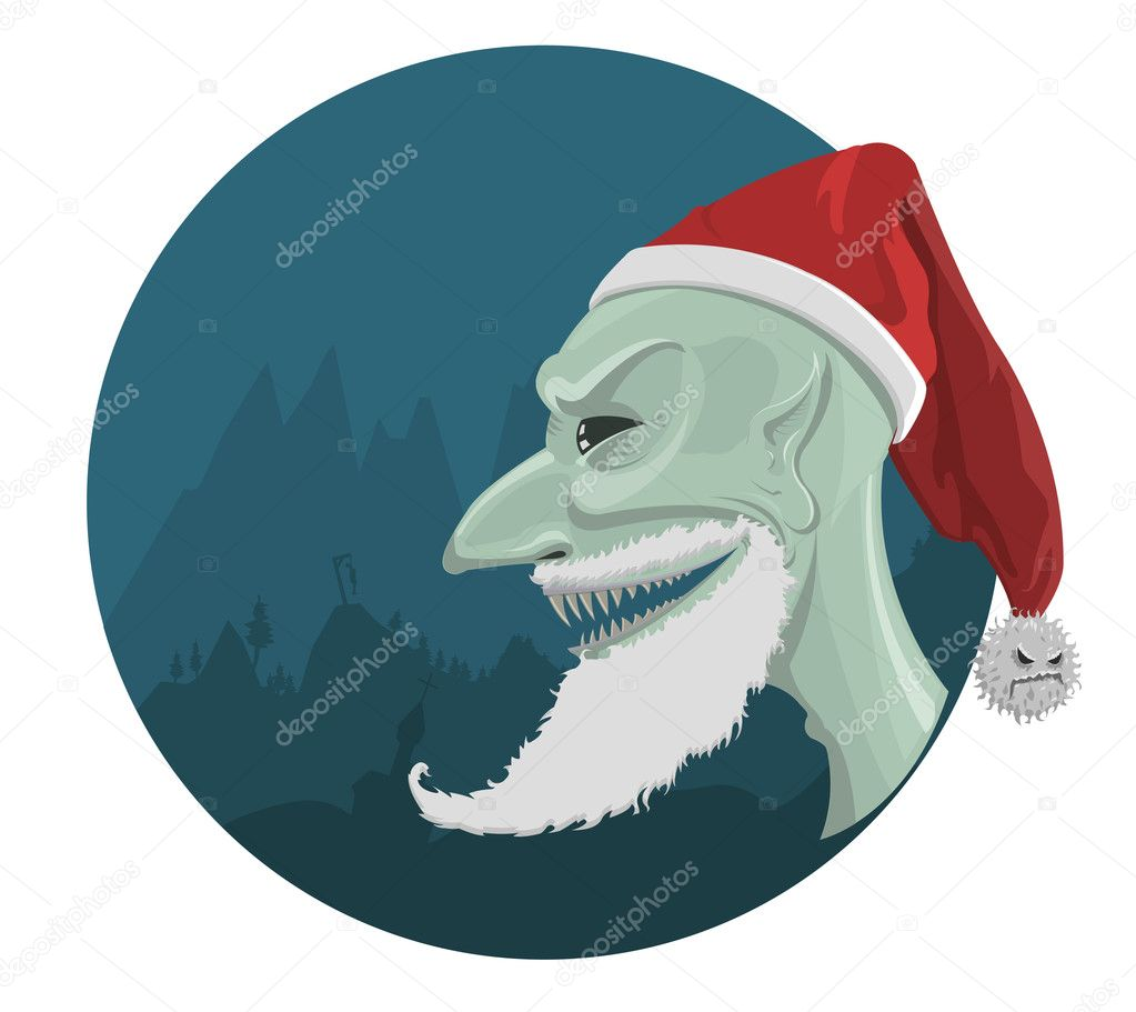 Vector evil Santa Claus in red hat with horror background  — Stock Vector #13795555