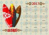 Vector Aloha calendar 2013 with surf boards — Stock Vector