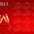 Vector red calendar 2013 with champagne — Stock Vector