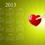 Vector European 2013 calendar for Valentines Day — Stock Vector