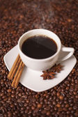 Coffee cup with cinnamon and anise spices — Stock Photo