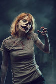 Creepy zombie over apocalyptic background — Stok fotoğraf