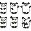 Vector set of cute pandas — Stock Vector