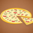 Vector illustration of pizza - Stock Vector