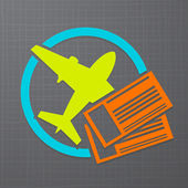 Vector icon with airplane and air tickets — Stock Vector