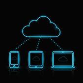 Vector blue neon computing icons — Stock Vector