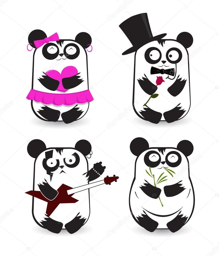 可爱熊猫贴纸素材