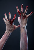Bloody zombie hands — Stock Photo