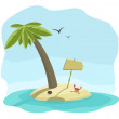Vector illustration of tropical island with signboard — Stock Vector