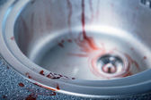 Close-up shot of bloody kitchen sink — Stock Photo
