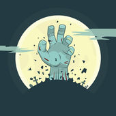Vector zombie hand rising from the grave — Stock Vector