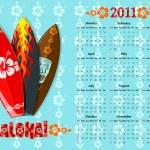 Vector blue Aloha calendar 2011 with surf boards — Stock Vector #3784730