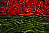 Texture of non-stem red and green bird eye chili pepper — Stock Photo