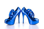 Pair of elegant blue female shoes — Stock Photo