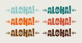 Conjunto de la palabra aloha en colores retro — Vector de stock