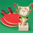 Sports awards and  tennis racquets on  green table — Foto de Stock