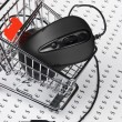 Computer mouse  in  shopping trolley — Foto de Stock