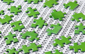 Puzzles and binary code — Stock Photo