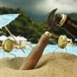 Funny bottle cork on a sandy beach - Foto Stock