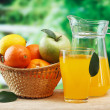 Постер, плакат: Various fruits and juice