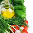 Stock Photo: Vegetables and a bottle of oil, still life