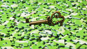 Key on pile of green puzzle — Stock Photo