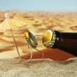 Funny bottle cork on a sandy beach - Stok fotoraf