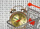 Sveglia in un carrello della spesa — Foto Stock