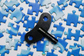 Key on the blue puzzle — Stock Photo