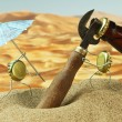 Funny bottle cork on a sandy beach — Stock Photo #13555321