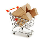 Wooden blocks for the construction in shopping trolley isolated — Stock Photo