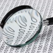 Magnifying glass on a binary code — Stock Photo #13659013