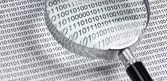 Lupa em um código binário — Fotografia Stock