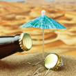 Funny bottle cork on a sandy beach — Stock Photo #13718650