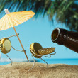 Funny bottle cork on a sandy beach — Stock Photo #13849479