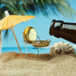 Funny bottle cork on a sandy beach — Stock Photo #13849481