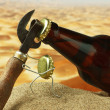 Funny bottle cork on a sandy beach — Stock Photo #13849482