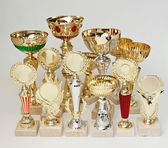 Many sports awards on a white background — Stock Photo