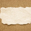 Scrap of old torn paper on a sandy beach — Stock Photo #13884085