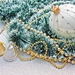 Stock Photo: Gold and silver bell on the Christmas decoration