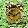 Alarm clock on pile of green puzzle — Stock Photo #13971891