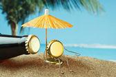 Divertente bottiglia sughero su una spiaggia di sabbia — Foto Stock