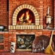 Stockfoto: Russiinterior kitchen with oven and burning fire