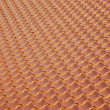 Terracotta metal tile roof, background - Stockfoto