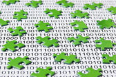 Green puzzles and binary code — Foto de Stock