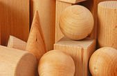Wooden geometric shapes — 图库照片