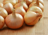 Onions on a kitchen cutting board — Stockfoto
